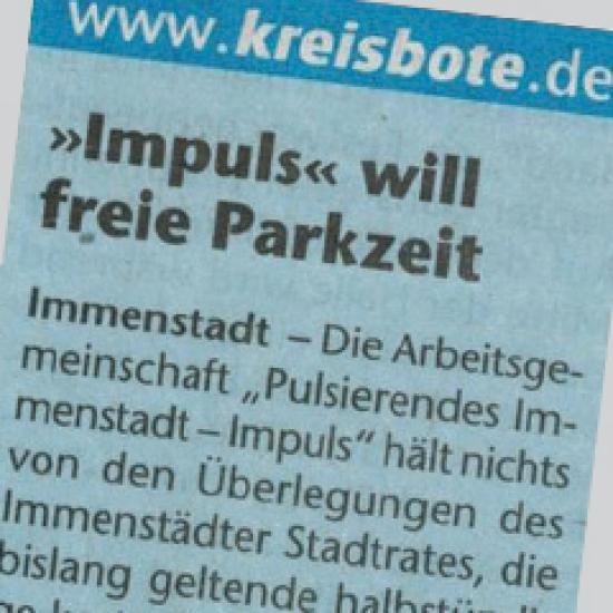 Impuls will freie Parkzeit